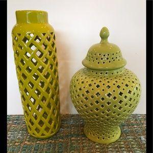 Apothecary Jar + Vase Green New